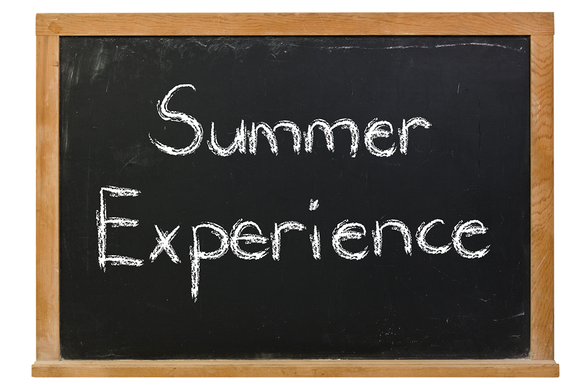 chalkboard with Summer Experience